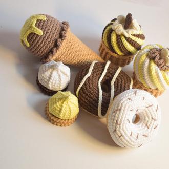 Вязаный набор шоколадно-кофейно-ванильных  вкусняшек!) Подарок ребенку. Интерьерная игрушка. Декор.