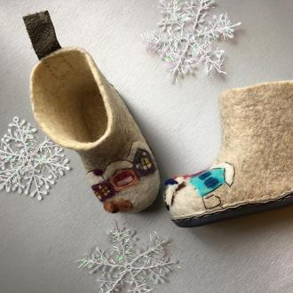 Валяные детские ботиночки для дома
