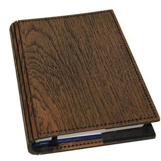 Обложка для ежедневника из кожи и дерева формата А5