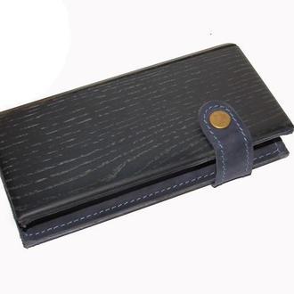 Длинный кожаный кошелек унисекс с деревянной вставкой