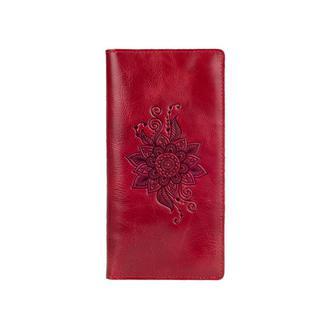 """Красный Кожаный Бумажник Hi Art WP-02 Crystal Red  """"Mehendi Classic"""""""