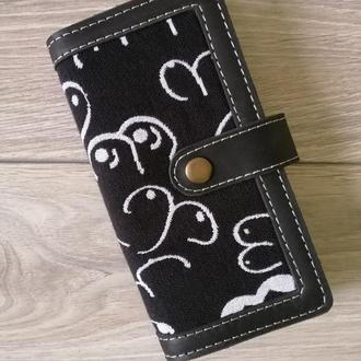 Длинный кожаный кошелек с текстильной вставкой Yaro Boobs