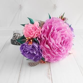 Ободок с розами на фотосессию Обруч на голову с цветами в подарок Украшение для волос девушке