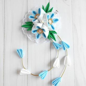 Голубая заколка канзаши Украшение для волос с цветами на фотосессию Подарок девочке на день рождение