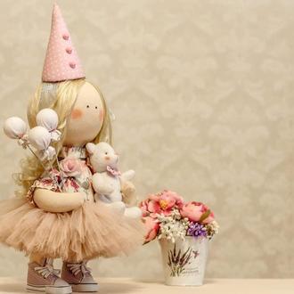 Интерьерная кукла клоун с шариками