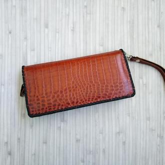 Женский кожаный кошелек-клатч. Жіночий шкіряний гаманець-клатч