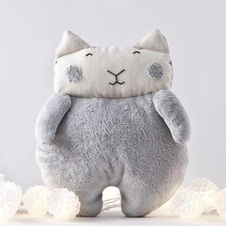 Плюшевый котик игрушка, Серый пушистый котик игрушка