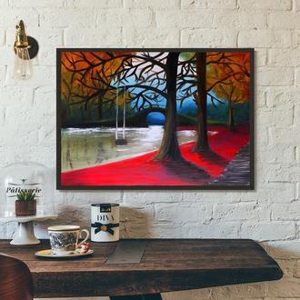 Осенний парк (картина масло/холст) 50х70х2 см