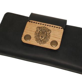 Длинный женский кошелек из кожи с деревянной вставкой. Именная гравировка в подарок.