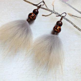 Серьги-хвостики из натурального меха