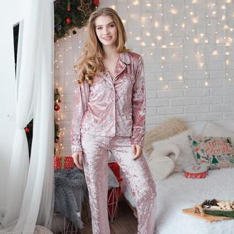 Бархатная пижама для сна, бархатный костюм, велюровая пижама