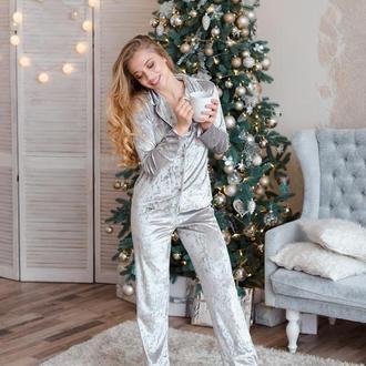 Велюровая пижама для сна, теплая пижама, пижама со штанами, бархатный костюм