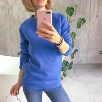Теплая кофта, свитер, реглна, свитшот, синяя кофта, на флисе, байка, с начесом