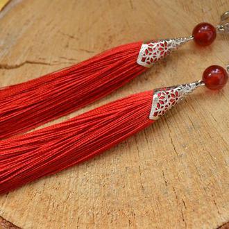 Красные серьги - кисти с сердоликом ′Царица′ элит