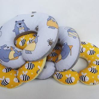 Двухсторонняя дорожная подушка на шею из плюша и хлопка - медведи