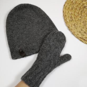 Теплые серые зимние варежки альпака от bregoli design