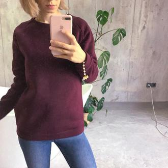 Теплая кофта на флисе, бордовый свитер, зимняя, марсала, реглан на флисе, байка, с начесом