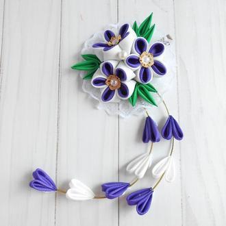 Фиолетовая заколка с цветами на фотосессию Красивое нарядное украшение для волос Подарок девочке