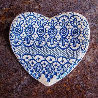 Тарілка Серце середня кобальт