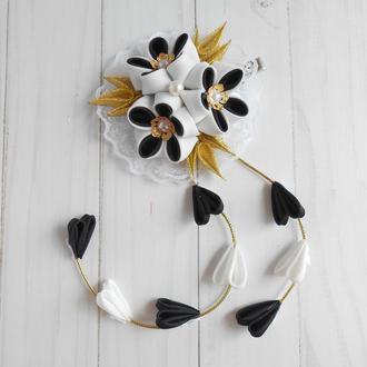 Черно-белая заколка с цветами канзаши Украшение для волос на фотосессию Подарок девочке на праздник