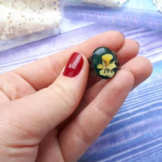 Кольцо с цветами (анютины глазки)