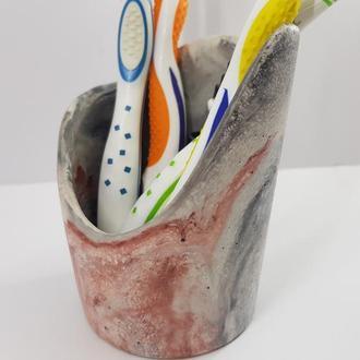 подставку-стакан для зубных щеток из бетона - мультицвет