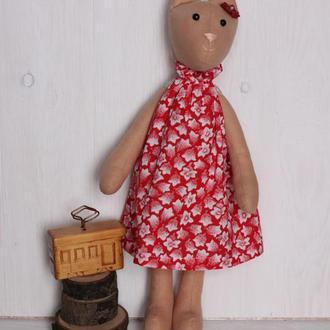 Кошка тильда 32 см красная кот мягкая игрушка текстильная в одежде подарок девочке