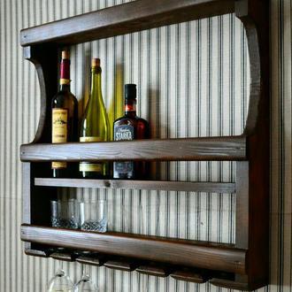 Полка дерев'яна настінна для вина та бокалів.