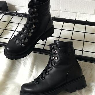 Ботинки, трекеры, из натуральной черной кожи, зимние, 36-40