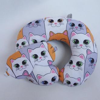 Двухсторонняя дорожная подушка на шею из плюша и хлопка - коты