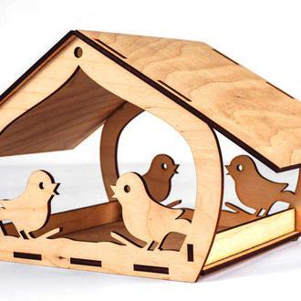 Кормушка для птиц из фанеры (деревянная)