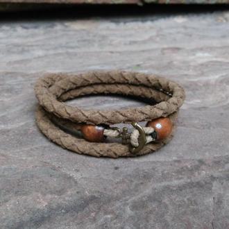 Плетеный замшевый браслет