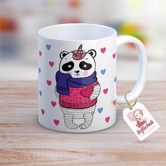 Романтичная панда-единорог - чашка с  иллюстрацией