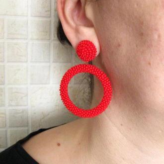 Красные серьги кольца из бисера (40 цветов)