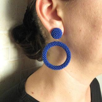 Синие серьги кольца из бисера (40 цветов)