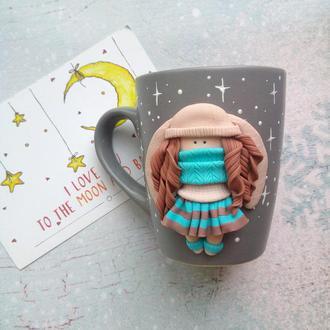 Чашка с куклой тильда Зайка, декор из полимерной глины