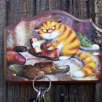 Ключница настенная декоративная в прихожую Котэ Вешалка для ключей с котом Котик
