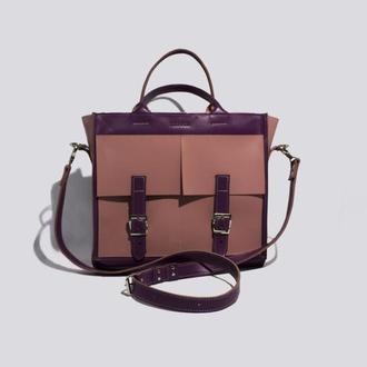 Яркая сумка для девушек из глянцевой кожи двух цветов, подходящая под все сезоны