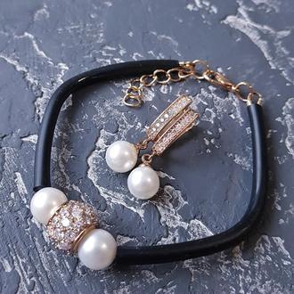 Браслет з натуральними перлами та позолочені сережки браслет с жемчугом серьги с жемчугом