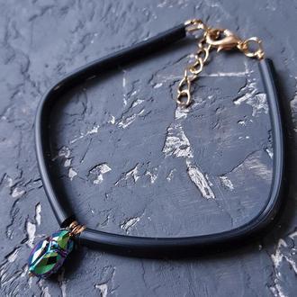 Браслет двусторонній з кристалом Swarovski Скарабей браслет жук браслет унисекс
