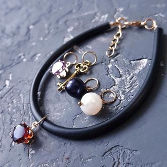 Браслет зі змінними підвісками натуральні перли, кристали циркону браслет с жемчугом подарок девушке