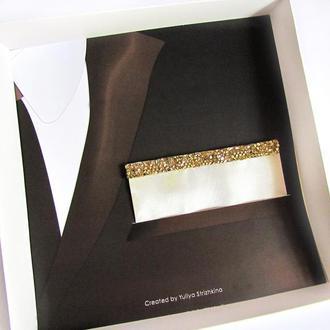 Паше (нагрудный платок в карман пиджака) светло-золотой нарядный