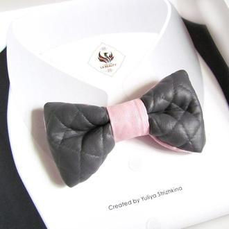 Эксклюзивный галстук - бабочка для мужчины, женщины, мальчика серо-розовый