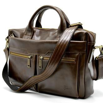 "Кожаная мужская сумка для документов и ноутбука 14"" TARWA GQ-7122-3md"