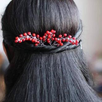 Красные шпильки для волос 2 штуки