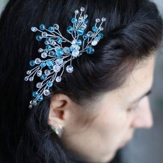 Прозрачно голубой гребень для волос