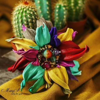 Брошь цветок «MaryS Leather Accessories» от Cтудии кожаных аксессуаров Марии Суслиной