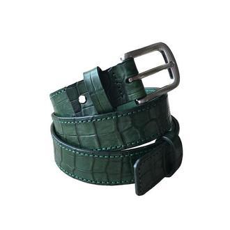 Мужской кожаный ремень, зеленый ремень, кожаный ремень ручной работы, эксклюзивный ремень