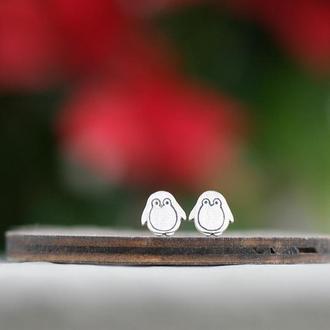 Серебряные серьги пингвины
