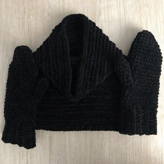 Варежки рукавицы и снуд вязаные черные велюр